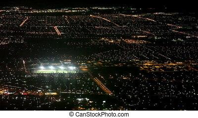 Airplane landing to Las vegas - Aerial view of las vegas at...