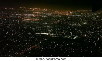 Airplane landing to Los Angeles - Aerial view of Los Angeles...