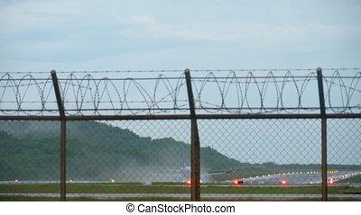 Airplane landing wet runway