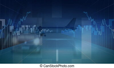 Airplane landing with cars driving and statistical code