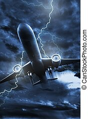 Airplane Lightning Strike Illustration. Stormy NIght Sky...