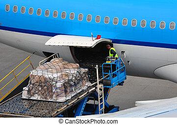 Airplane loading cargo
