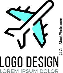 airplane, logo, design, concept., plan, icon., vektor, logo