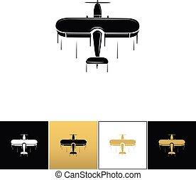 Airplane logo or flight travel tourism vector icon