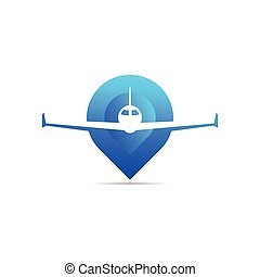 airplane logo with pin location concept
