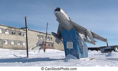 Airplane monument to aviators in abandoned city Coal Mines...