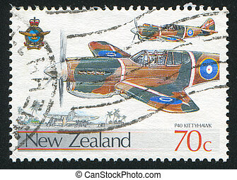 airplane - NEW ZEALAND - CIRCA 1987: stamp printed by New ...