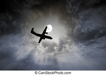 Airplane night flight