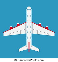 Airplane of top view. Aircraft icon in flat style.
