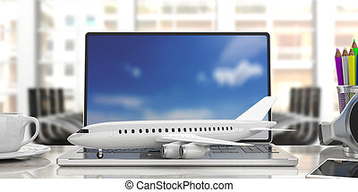 Airplane on a computer keyboard, blur office background. 3d illustration
