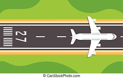 Airplane on a runway - Vector illustration of an airplane on...