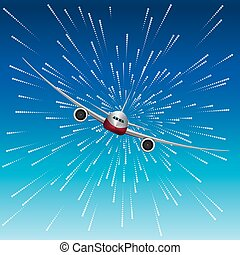 Airplane on an abstract background.background is blue.