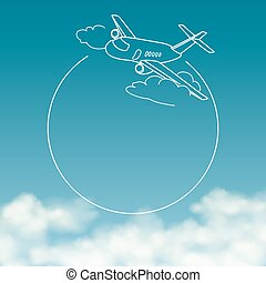 Airplane on background of cloudy sky with space for text