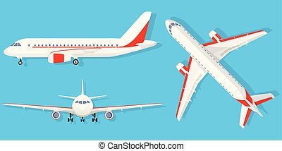 Airplane on blue background in different point of view. Airliner in top, side, front view. Flat style
