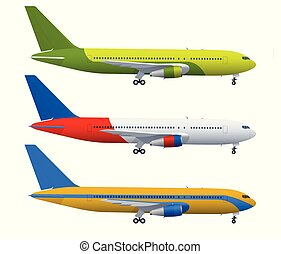 Airplane on blue background. Industrial blueprint of airplane. Airliner in side view. Flat style vector illustration.