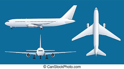 Airplane on blue background. Industrial blueprint of airplane. Airliner in top, side, front view. Flat style vector illustration.