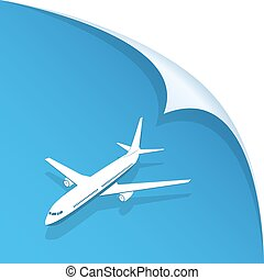 Airplane on blue background