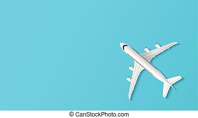 Airplane on blue background with copy space for text, travel background, vector illustration
