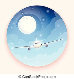 Airplane on blue background with moon and stars. A flying plane in night sky. Landing illustration. Travel by airplane, private airlines and transportation