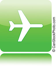 Airplane on green glossy button