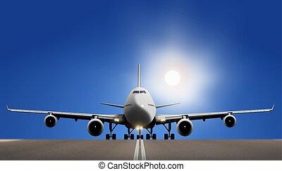 Airplane on Runaway over Blue Sky