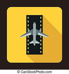 Airplane on runway icon, flat style