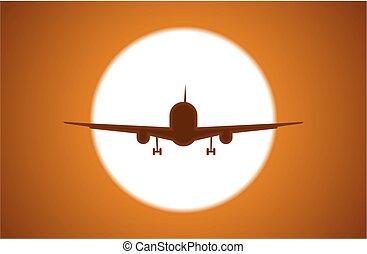 Airplane on sunset