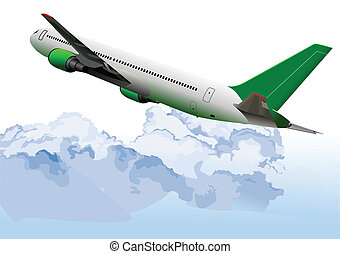 Airplane on the air. Vector illustr