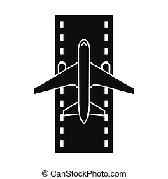 Airplane on the runway icon, simple style
