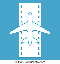 Airplane on the runway icon white