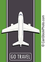 Airplane on the runway top view,go travel button or banner