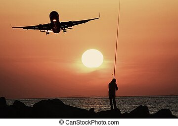 Airplane is flying over a Fisherman