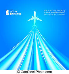 Airplane over blue background