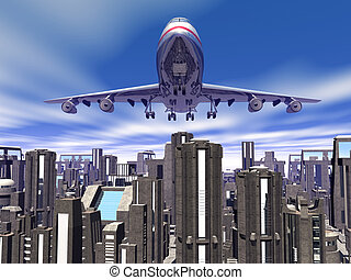 Background, 3D illustration of departing airplane, jumbo jet 747 over city blocks.
