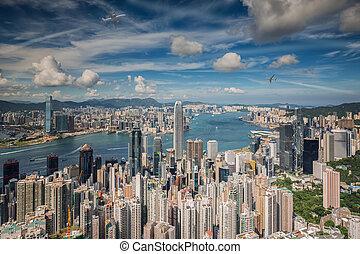 Airplane over Hongkong