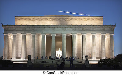 Airplane Over Lincoln Memorial Statue Evening Washington DC...
