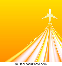 Airplane over orange