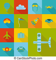 Airplane Party set - Flat Icons Design  - in vector