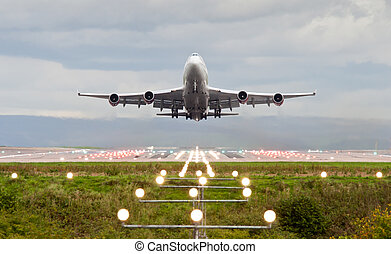 Airplane - airplane take off at manchester airport, england,...
