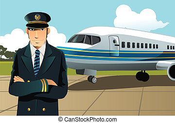 A vector illustration of an airplane pilot in front of the plane at the airport