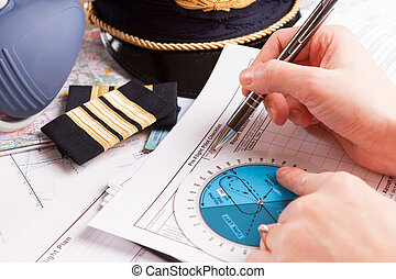 Airplane pilot filling in flight plan