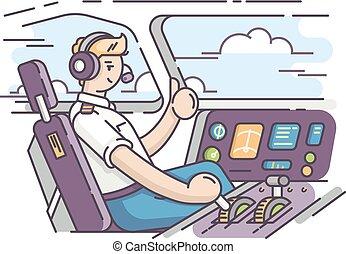 Airplane pilot in cockpit