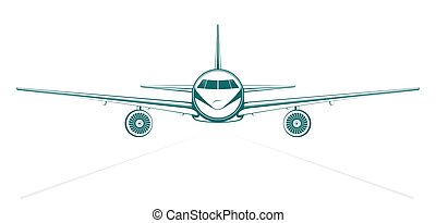 plain blue painted outline passenger jet from the front