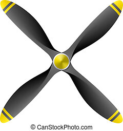 Airplane propeller with 4 blades