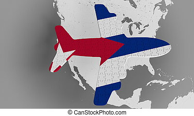 Airplane puzzle featuring flag of Cuba against the world map. Cuban tourism conceptual 3D rendering