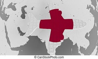 Airplane puzzle featuring flag of Japan against the world map. Japanese tourism conceptual 3D rendering