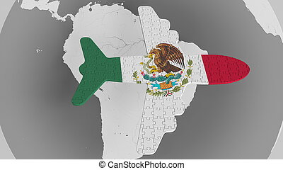 Airplane puzzle featuring flag of Mexico against the world map. Mexican tourism conceptual 3D rendering