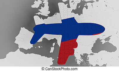 Airplane puzzle featuring flag of Russia against the world map. Russian tourism conceptual 3D rendering