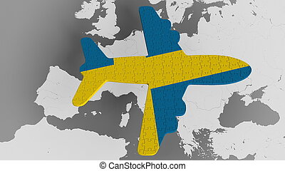 Airplane puzzle featuring flag of Sweden against the world map. Swedish tourism conceptual 3D rendering