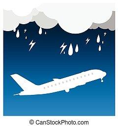 airplane Rain thunder flight tickets air fly cloud sky blue travel background takeoff
